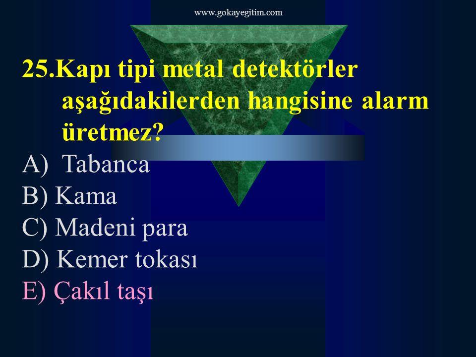 www.gokayegitim.com 25.Kapı tipi metal detektörler aşağıdakilerden hangisine alarm üretmez Tabanca.