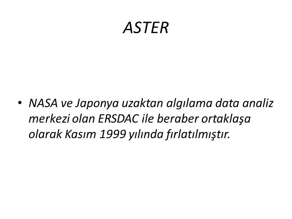 ASTER NASA ve Japonya uzaktan algılama data analiz merkezi olan ERSDAC ile beraber ortaklaşa olarak Kasım 1999 yılında fırlatılmıştır.