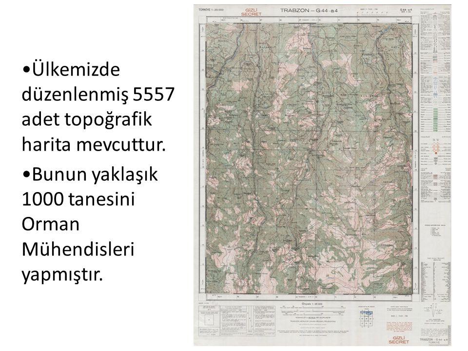 Ülkemizde düzenlenmiş 5557 adet topoğrafik harita mevcuttur.