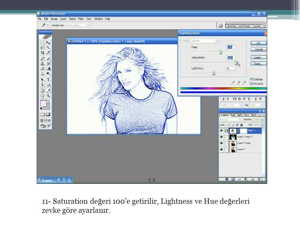 11- Saturation değeri 100'e getirilir, Lightness ve Hue değerleri zevke göre ayarlanır.