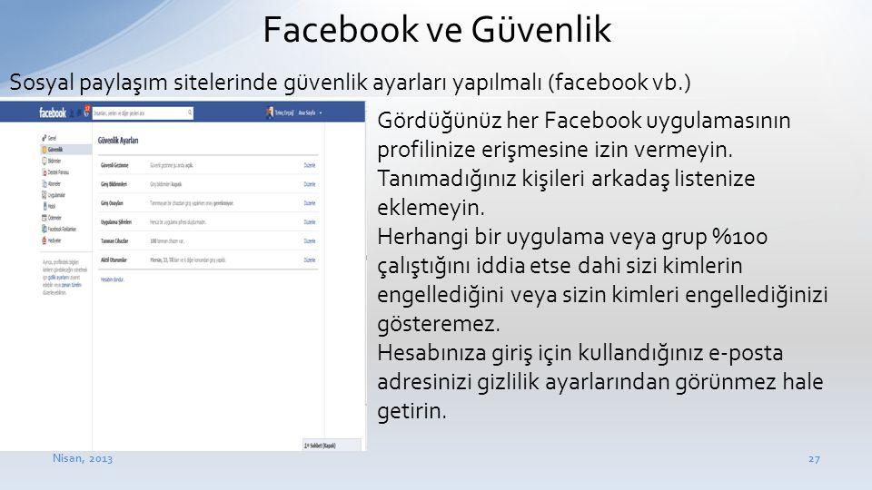 Facebook ve Güvenlik Sosyal paylaşım sitelerinde güvenlik ayarları yapılmalı (facebook vb.)