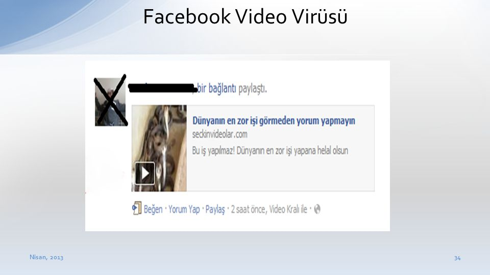 Facebook Video Virüsü Nisan, 2013