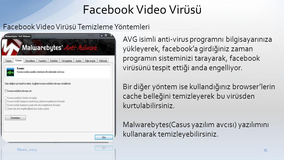 Facebook Video Virüsü Facebook Video Virüsü Temizleme Yöntemleri