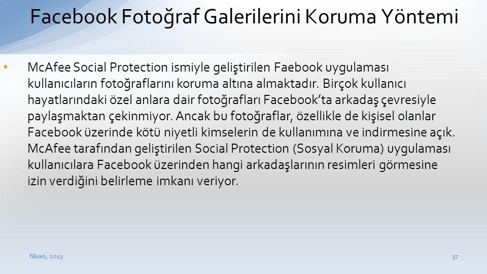 Facebook Fotoğraf Galerilerini Koruma Yöntemi