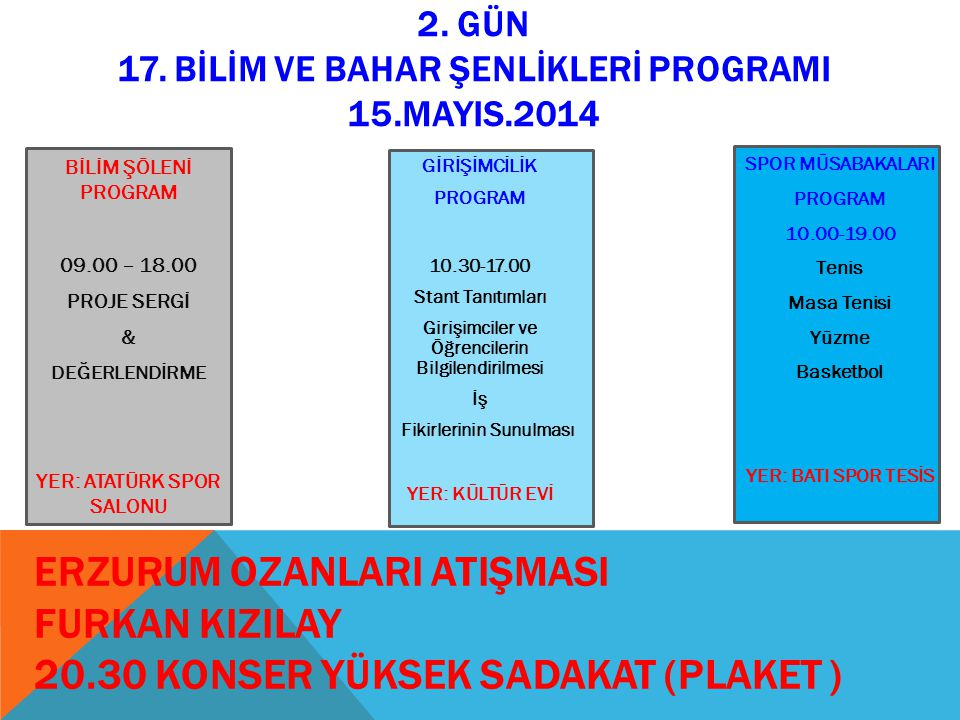 2. GÜN 17. BİLİM VE BAHAR ŞENLİKLERİ PROGRAMI 15.MAYIS.2014