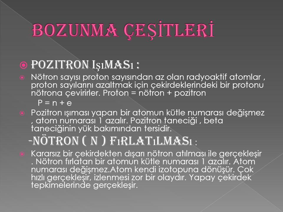 BOZUNMA ÇEŞİTLERİ Pozitron Işıması : -Nötron ( n ) Fırlatılması :