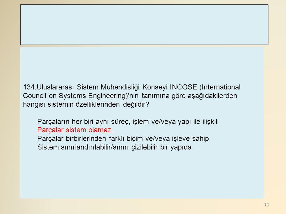 134.Uluslararası Sistem Mühendisliği Konseyi INCOSE (International Council on Systems Engineering)'nin tanımına göre aşağıdakilerden hangisi sistemin özelliklerinden değildir