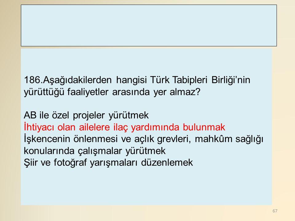 186.Aşağıdakilerden hangisi Türk Tabipleri Birliği'nin yürüttüğü faaliyetler arasında yer almaz