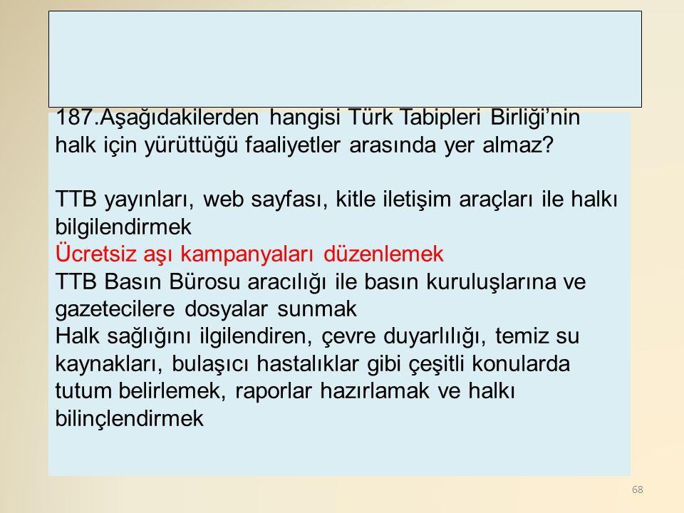 187.Aşağıdakilerden hangisi Türk Tabipleri Birliği'nin halk için yürüttüğü faaliyetler arasında yer almaz