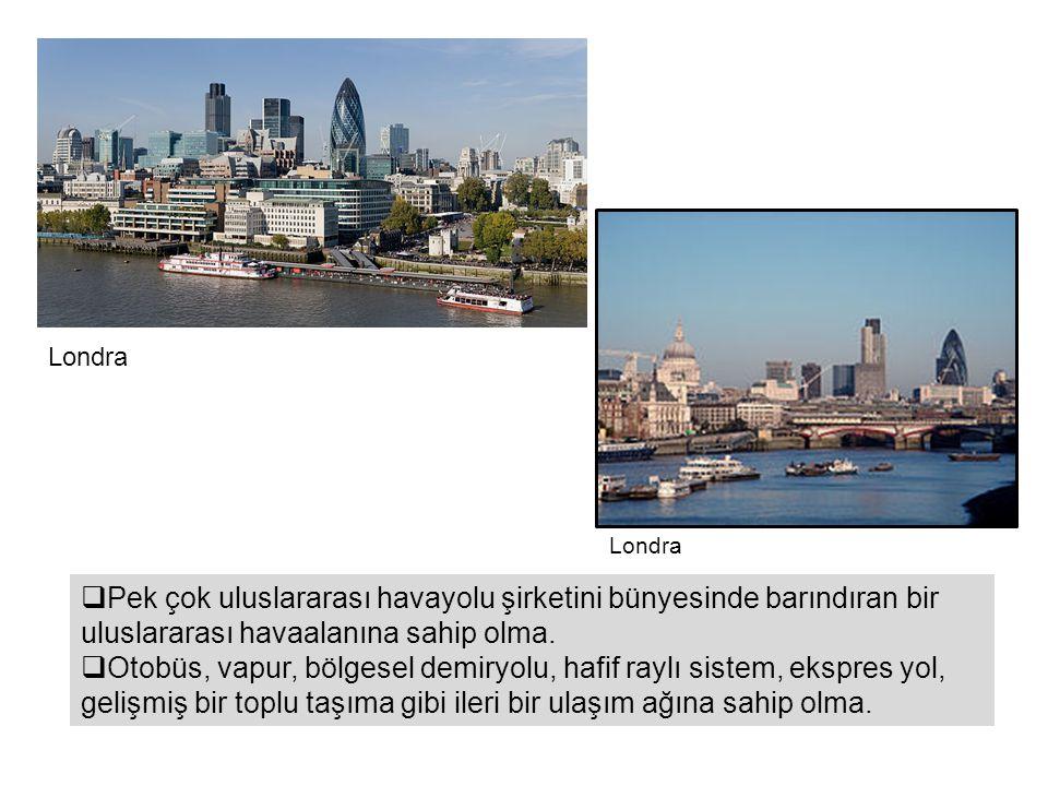 Londra Londra. Londra. Pek çok uluslararası havayolu şirketini bünyesinde barındıran bir uluslararası havaalanına sahip olma.
