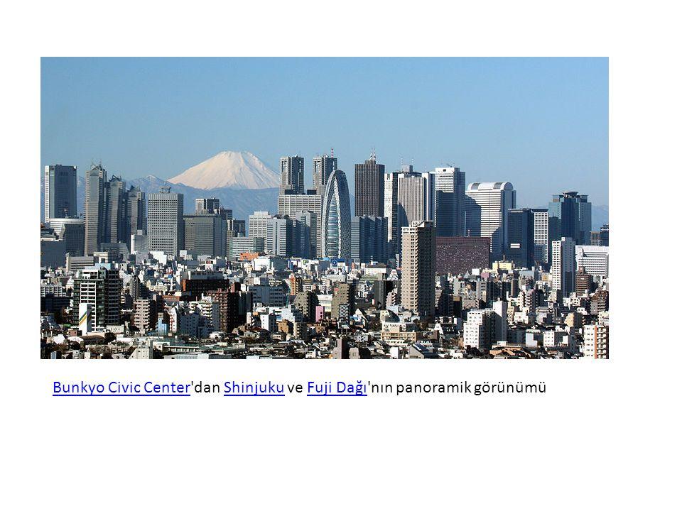 Bunkyo Civic Center dan Shinjuku ve Fuji Dağı nın panoramik görünümü