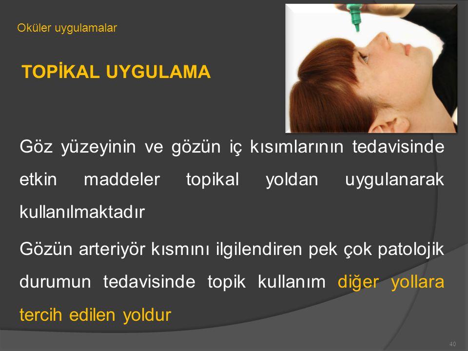 Oküler uygulamalar TOPİKAL UYGULAMA. Göz yüzeyinin ve gözün iç kısımlarının tedavisinde etkin maddeler topikal yoldan uygulanarak kullanılmaktadır.