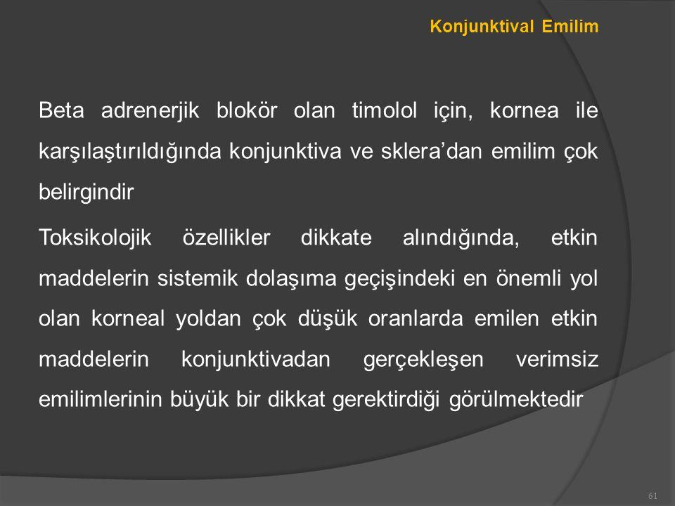 Konjunktival Emilim Beta adrenerjik blokör olan timolol için, kornea ile karşılaştırıldığında konjunktiva ve sklera'dan emilim çok belirgindir.