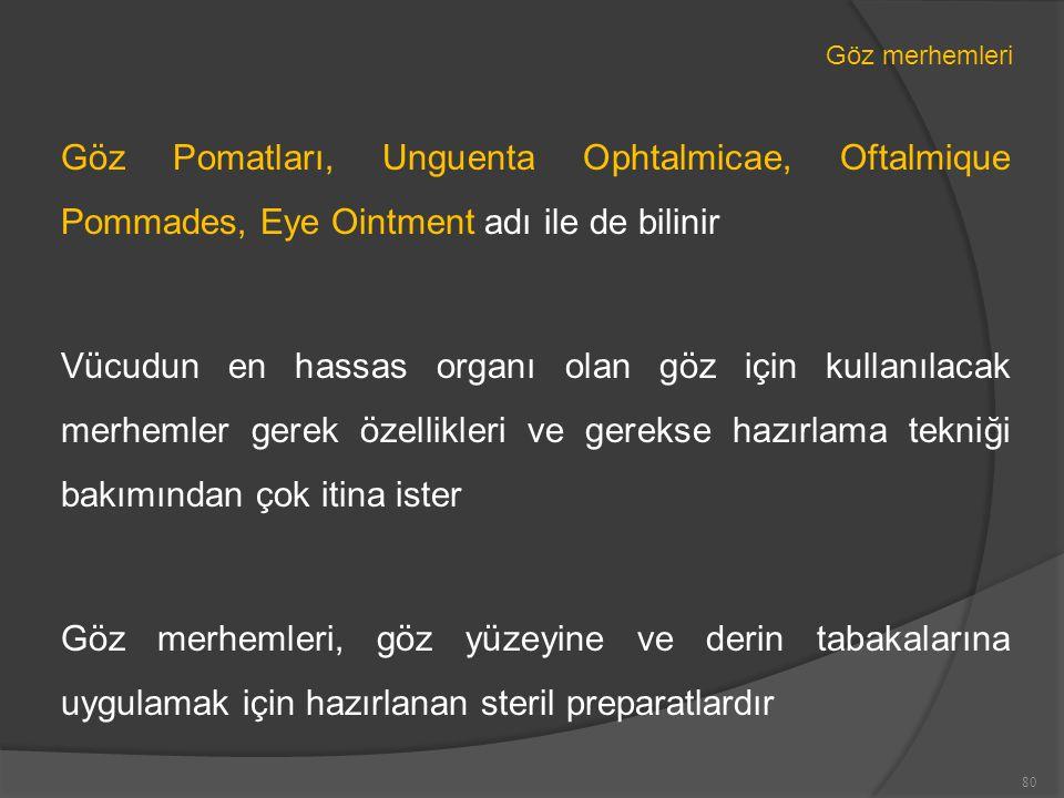 Göz merhemleri Göz Pomatları, Unguenta Ophtalmicae, Oftalmique Pommades, Eye Ointment adı ile de bilinir.
