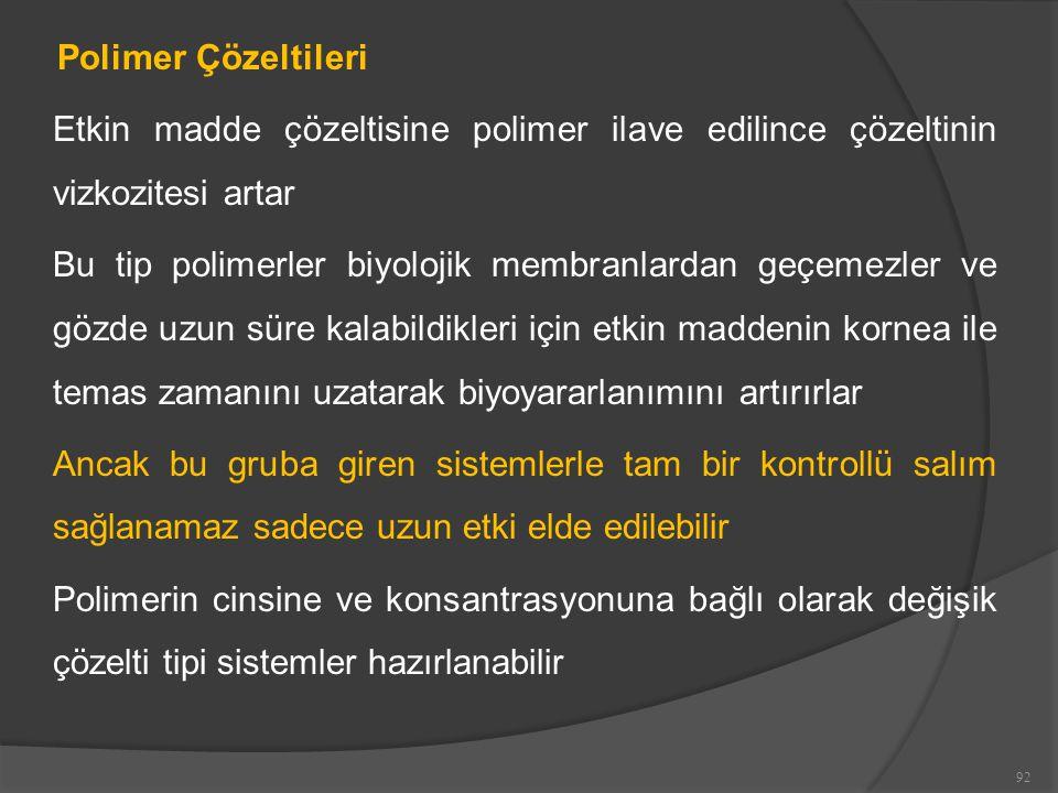 Polimer Çözeltileri Etkin madde çözeltisine polimer ilave edilince çözeltinin vizkozitesi artar.