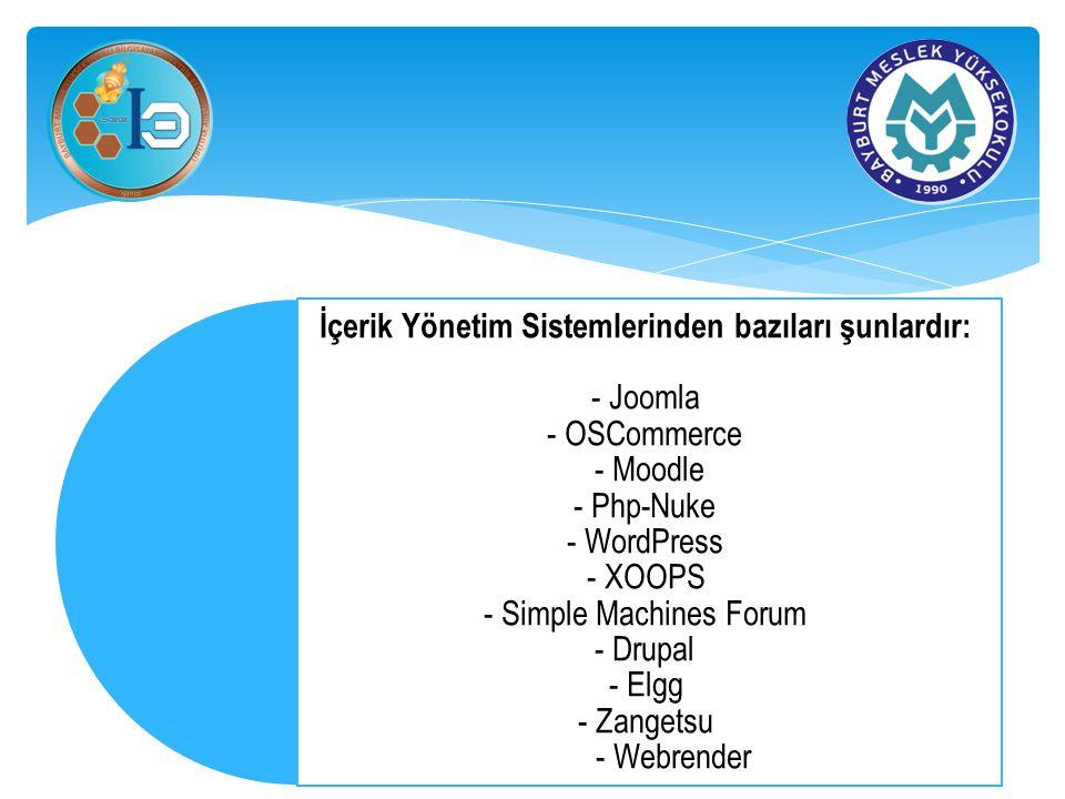 İçerik Yönetim Sistemlerinden bazıları şunlardır: - Joomla - OSCommerce - Moodle - Php-Nuke - WordPress - XOOPS - Simple Machines Forum - Drupal - Elgg - Zangetsu - Webrender