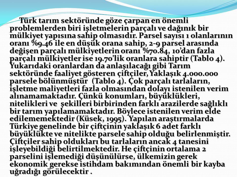 Türk tarım sektöründe göze çarpan en önemli problemlerden biri işletmelerin parçalı ve dağınık bir mülkiyet yapısına sahip olmasıdır.