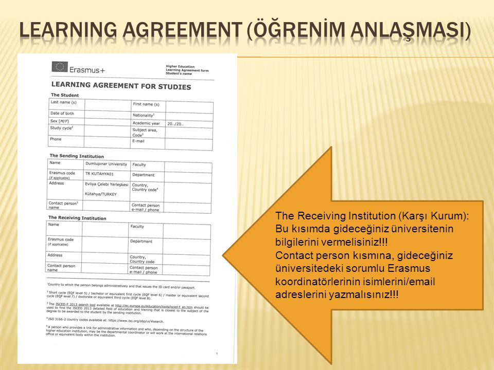 LearnIng agreement (Öğrenİm AnlaşmasI)