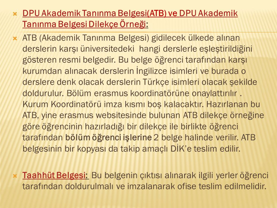 DPU Akademik Tanınma Belgesi(ATB) ve DPU Akademik Tanınma Belgesi Dilekçe Örneği: