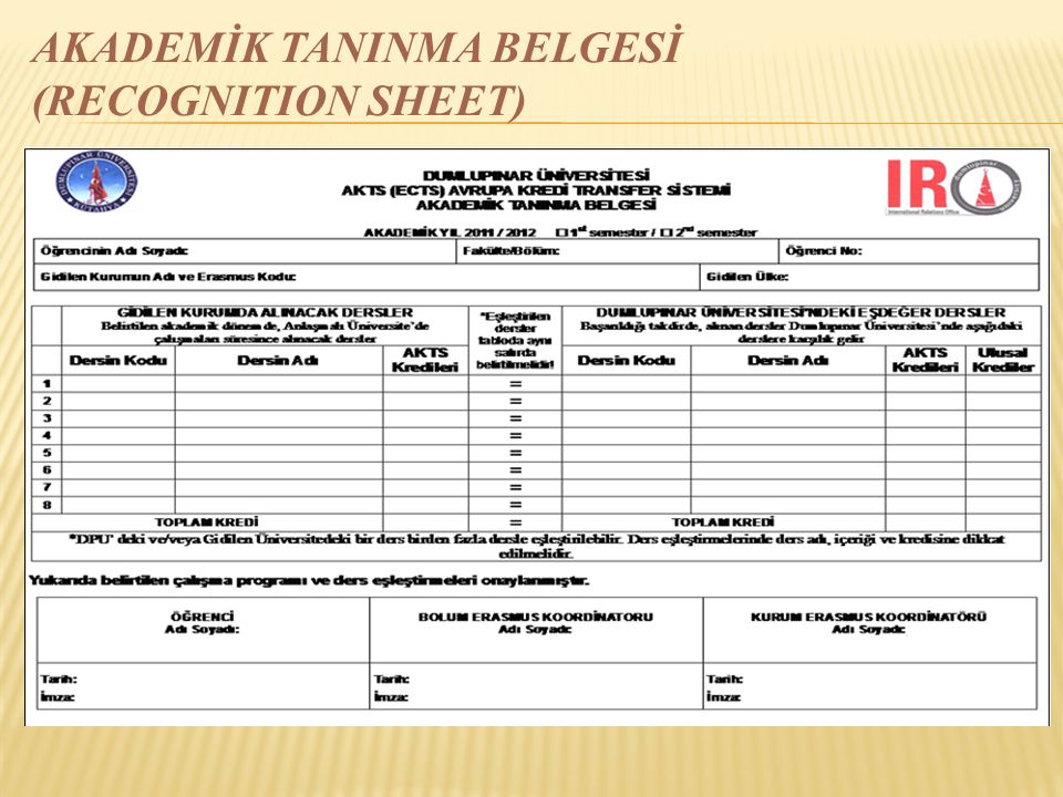 AKADEMİK TANINMA BELGESİ (RECOGNITION SHEET)