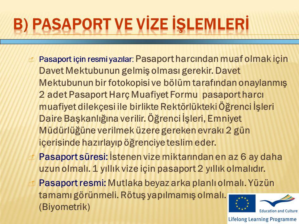 B) Pasaport ve Vİze İşlemlerİ