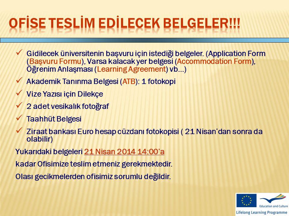 Ofİse teslİm edİlecek belgeler!!!