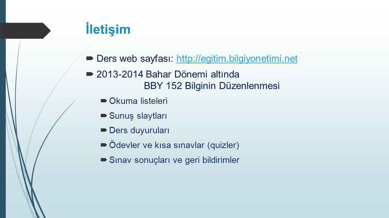 İletişim Ders web sayfası: http://egitim.bilgiyonetimi.net