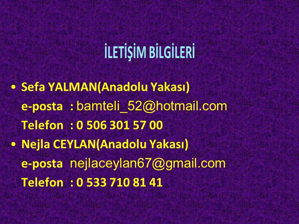 İLETİŞİM BİLGİLERİ Sefa YALMAN(Anadolu Yakası)
