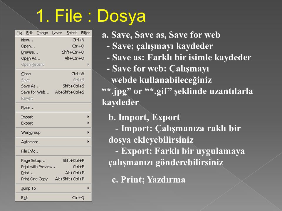 1. File : Dosya a. Save, Save as, Save for web