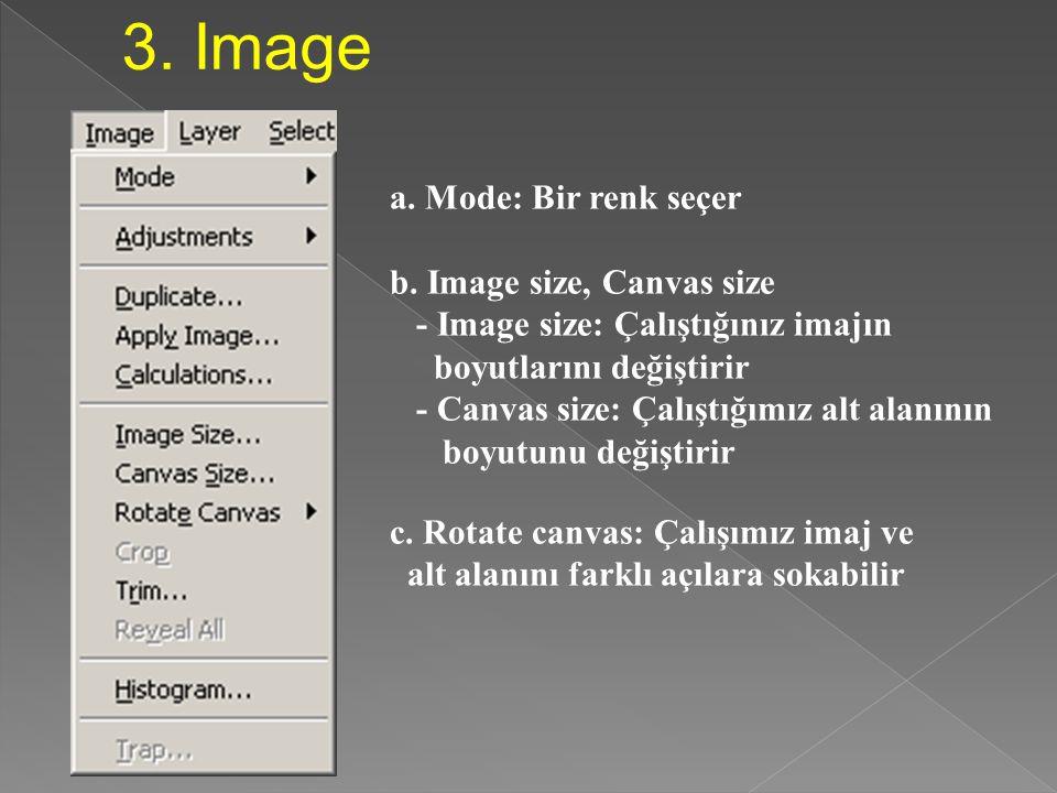 3. Image a. Mode: Bir renk seçer b. Image size, Canvas size