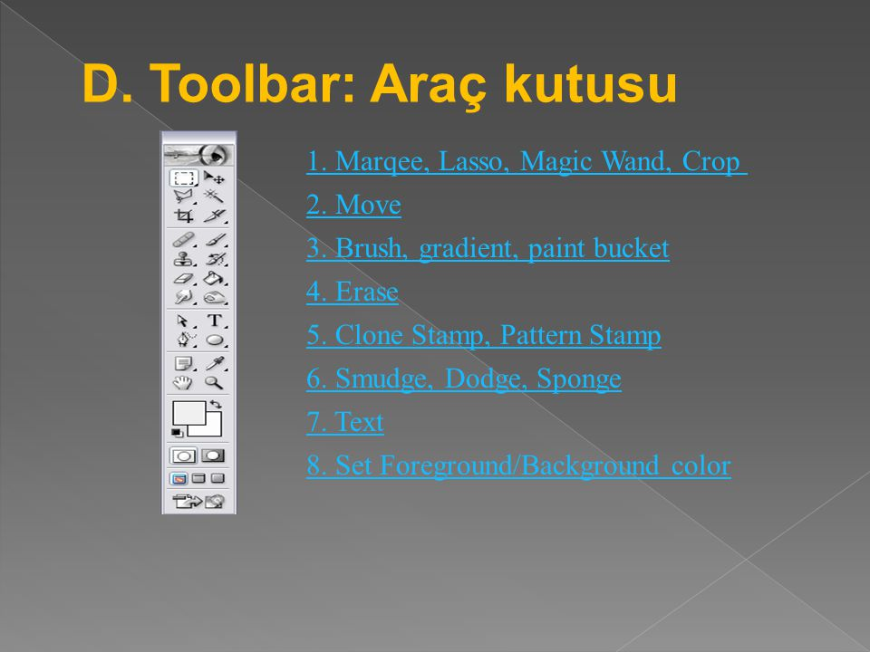 D. Toolbar: Araç kutusu 1. Marqee, Lasso, Magic Wand, Crop 2. Move