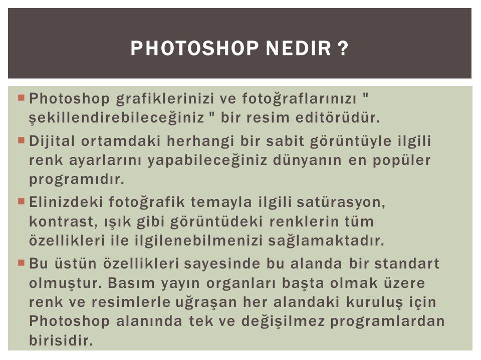 Photoshop Nedir Photoshop grafiklerinizi ve fotoğraflarınızı şekillendirebileceğiniz bir resim editörüdür.