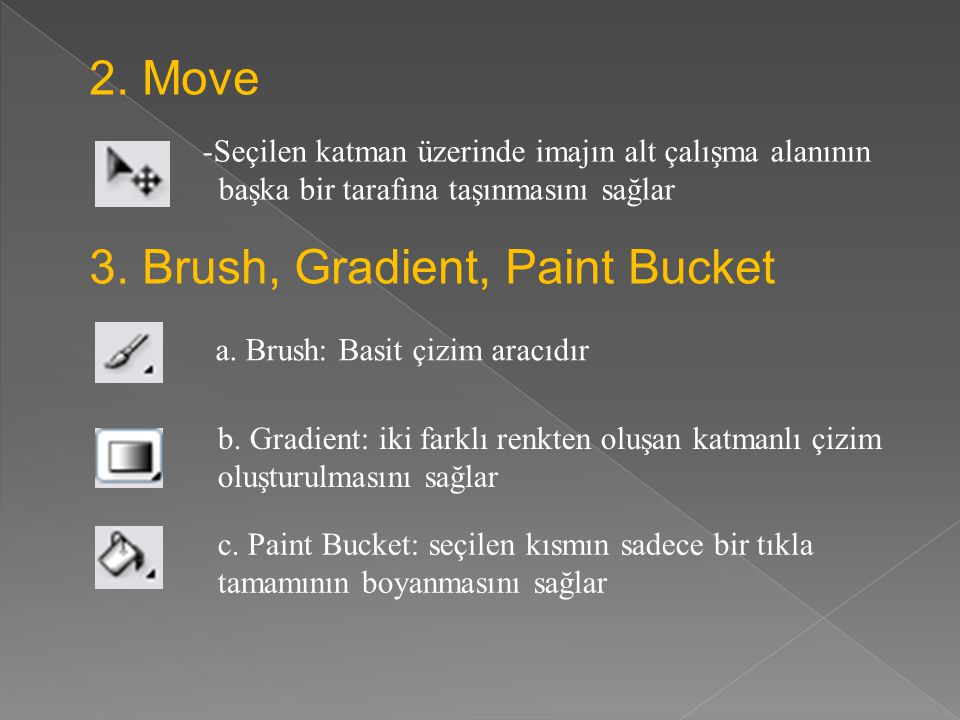 3. Brush, Gradient, Paint Bucket
