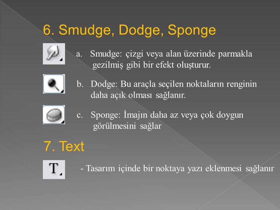 6. Smudge, Dodge, Sponge 7. Text
