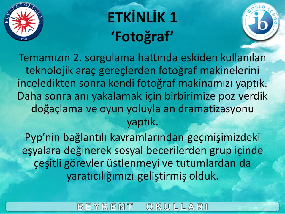 ETKİNLİK 1 'Fotoğraf'