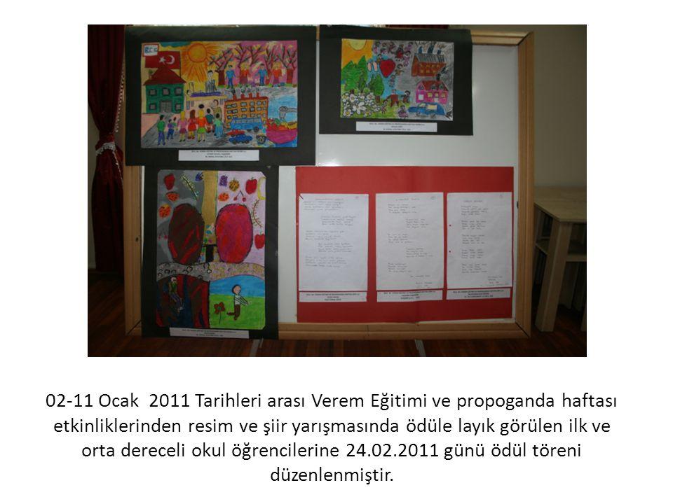 02-11 Ocak 2011 Tarihleri arası Verem Eğitimi ve propoganda haftası etkinliklerinden resim ve şiir yarışmasında ödüle layık görülen ilk ve orta dereceli okul öğrencilerine 24.02.2011 günü ödül töreni düzenlenmiştir.
