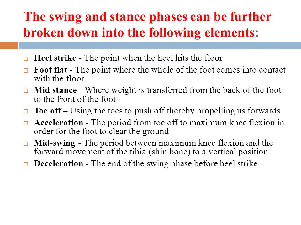 The swing and stance phases can be further broken down into the following elements: