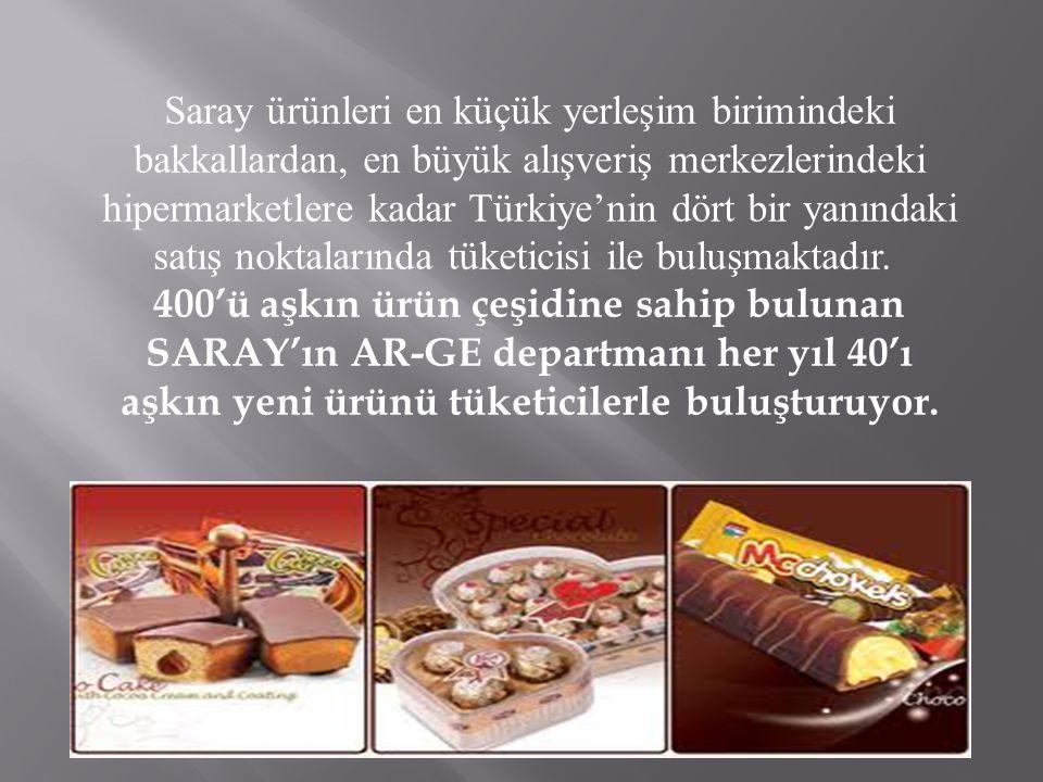 Saray ürünleri en küçük yerleşim birimindeki bakkallardan, en büyük alışveriş merkezlerindeki hipermarketlere kadar Türkiye'nin dört bir yanındaki satış noktalarında tüketicisi ile buluşmaktadır. 400'ü aşkın ürün çeşidine sahip bulunan SARAY'ın AR-GE departmanı her yıl 40'ı aşkın yeni ürünü tüketicilerle buluşturuyor.