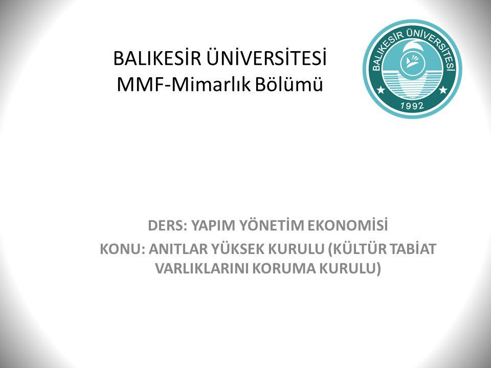 BALIKESİR ÜNİVERSİTESİ MMF-Mimarlık Bölümü