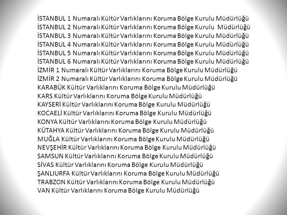 İSTANBUL 1 Numaralı Kültür Varlıklarını Koruma Bölge Kurulu Müdürlüğü