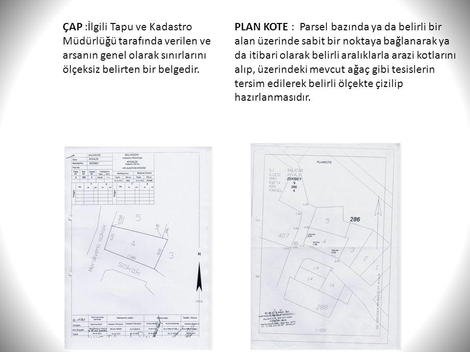 ÇAP :İlgili Tapu ve Kadastro Müdürlüğü tarafında verilen ve arsanın genel olarak sınırlarını ölçeksiz belirten bir belgedir.