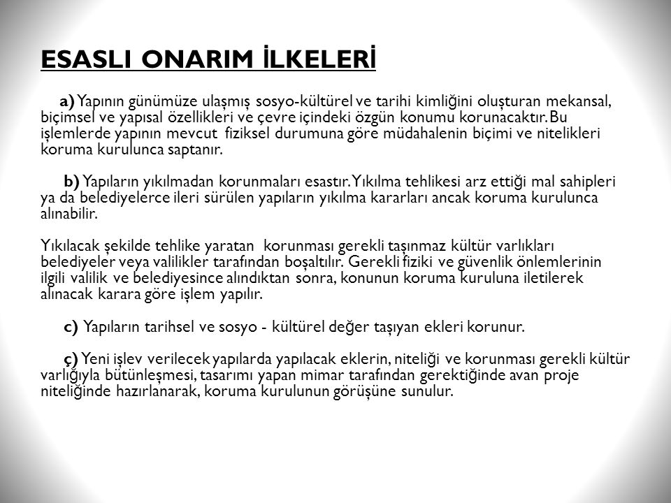 ESASLI ONARIM İLKELERİ