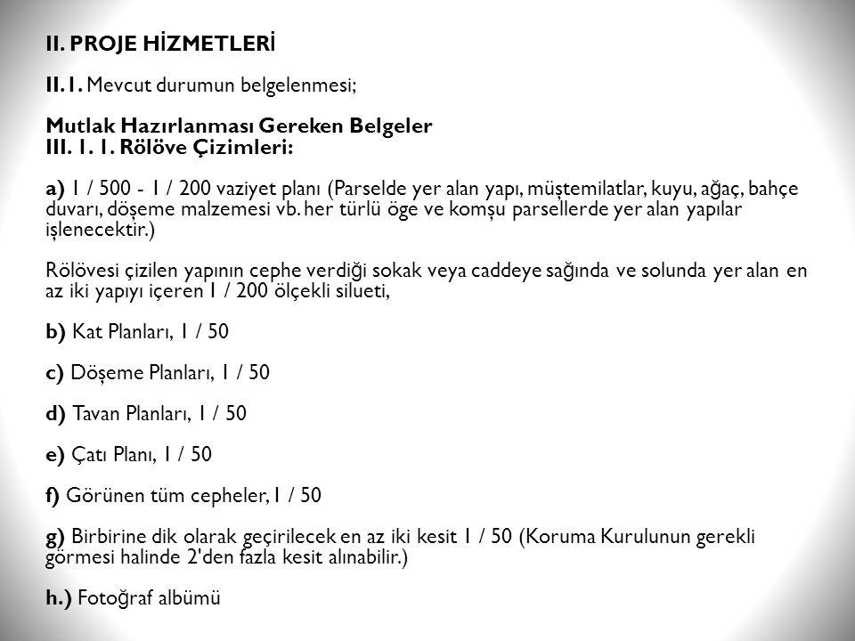 II. PROJE HİZMETLERİ II.1.