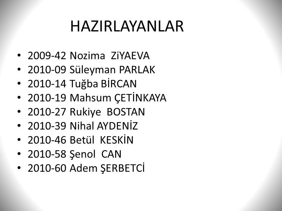 HAZIRLAYANLAR 2009-42 Nozima ZiYAEVA 2010-09 Süleyman PARLAK