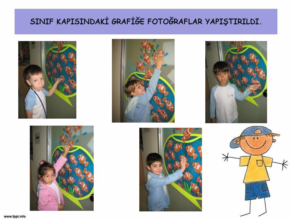 SINIF KAPISINDAKİ GRAFİĞE FOTOĞRAFLAR YAPIŞTIRILDI.