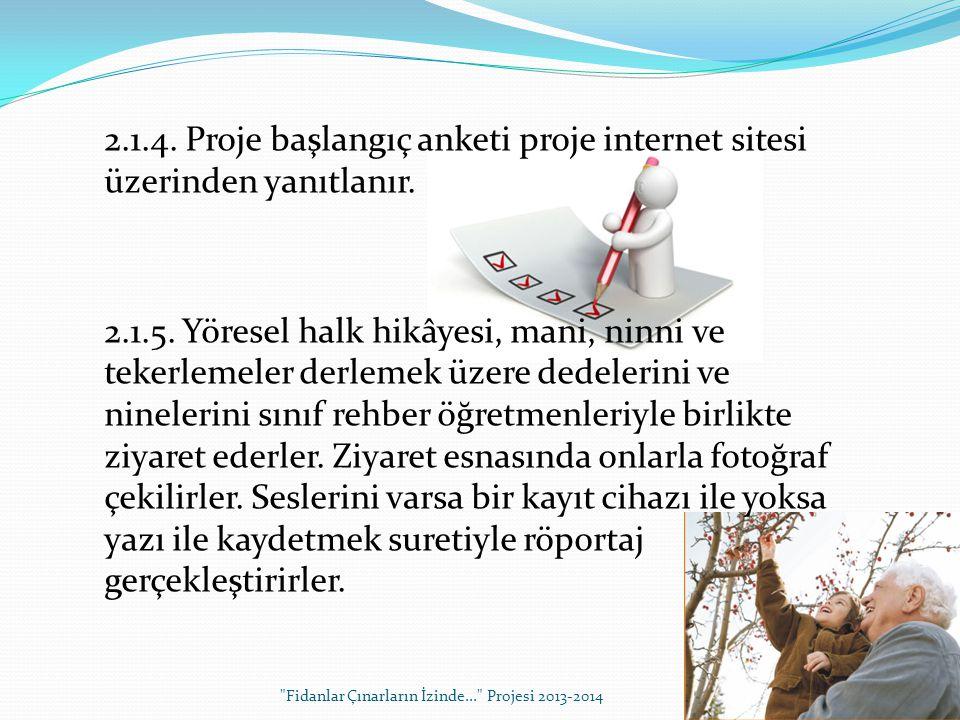 2.1.4. Proje başlangıç anketi proje internet sitesi üzerinden yanıtlanır.