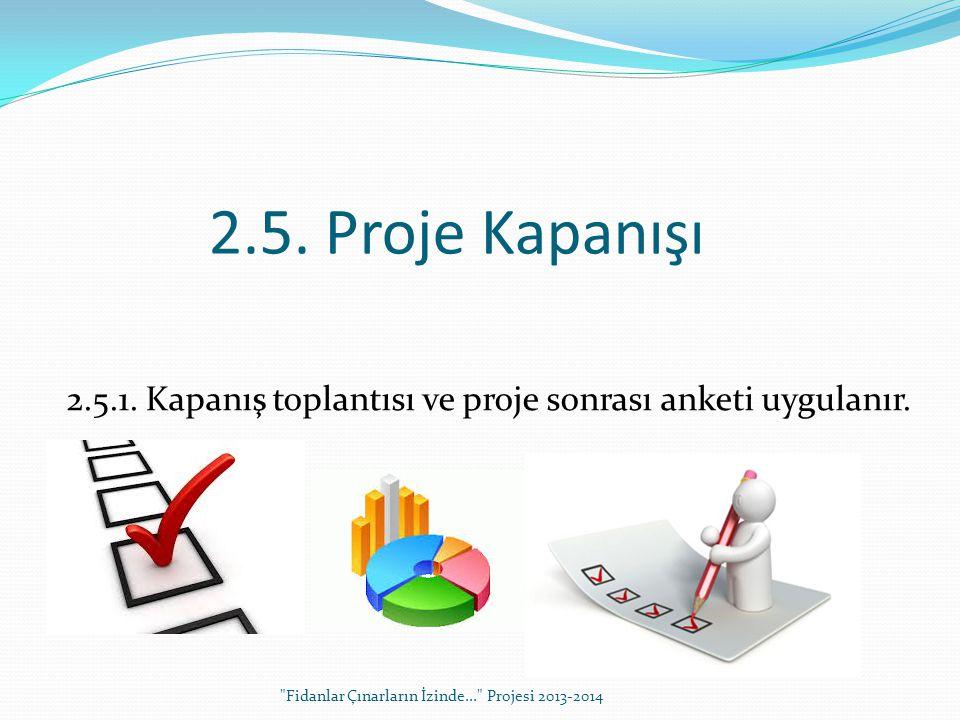 2.5. Proje Kapanışı 2.5.1. Kapanış toplantısı ve proje sonrası anketi uygulanır.