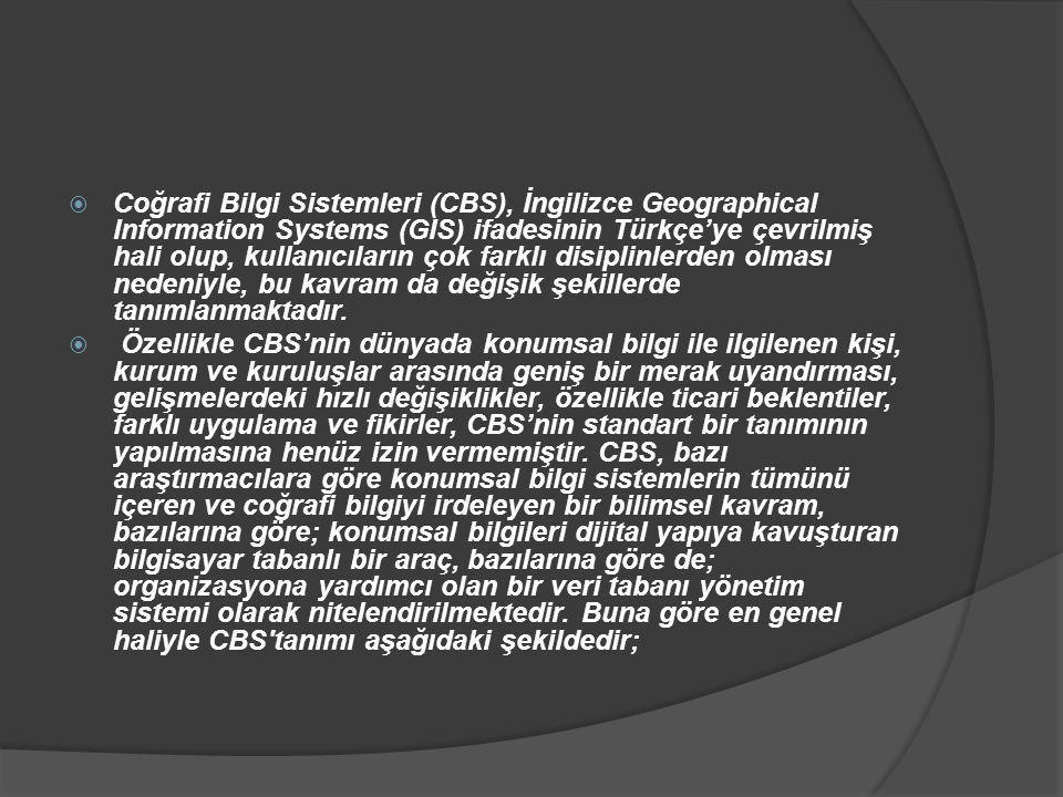 Coğrafi Bilgi Sistemleri (CBS), İngilizce Geographical Information Systems (GIS) ifadesinin Türkçe'ye çevrilmiş hali olup, kullanıcıların çok farklı disiplinlerden olması nedeniyle, bu kavram da değişik şekillerde tanımlanmaktadır.