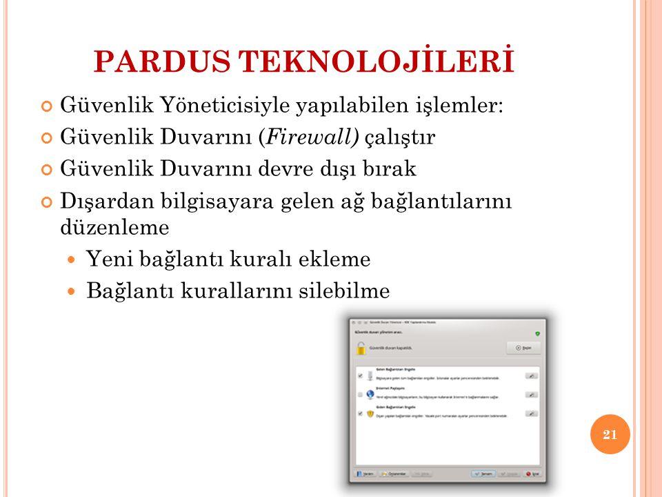 PARDUS TEKNOLOJİLERİ Güvenlik Yöneticisiyle yapılabilen işlemler: