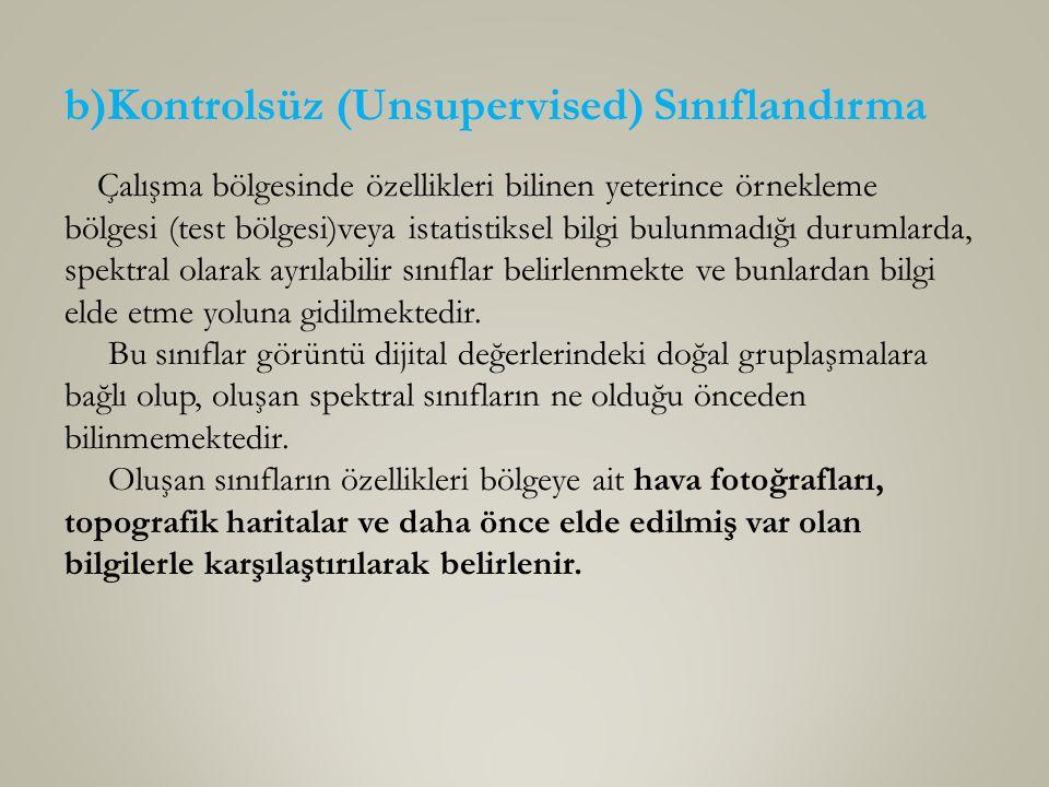 b)Kontrolsüz (Unsupervised) Sınıflandırma